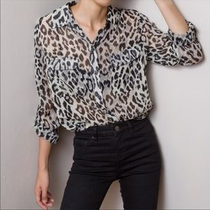 {OLD NAVY} Leopard Print Sheer Button Down Blouse